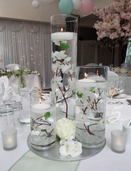 Trio of Blossoms with Floating Candles
