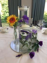 Trio Vase with Sunflower & Violets