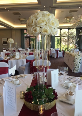 Tall 'V' Vases with Ivory Rose Top