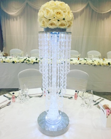 Tall Lily Vase Chandelier with Rose Top