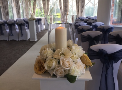 Hurricane Vase with Florals
