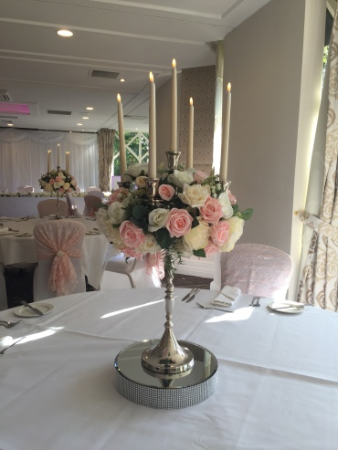 Candelabra with Baby Pink Artificial Florals